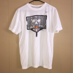 Nike White Basketball Goal Dri-Fit Tee Medium